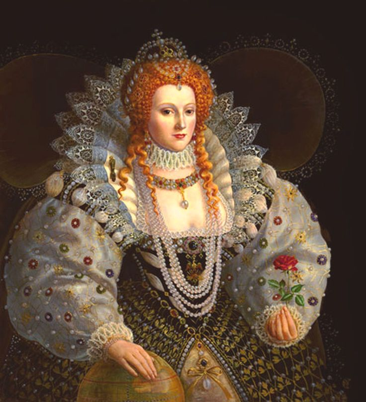 Tudor queen w/red hair. Elizabeth I (1538–1603) was queen of England/ Ireland from 1558 until her death. Elizabeth was the 5th & last monarch of the Tudor dynasty. The daughter of Henry VIII, she was born a princess, but her mother, Anne Boleyn, was executed 2-1/2 yrs after her birth, & Elizabeth was declared illegitimate. When all the family intrigue & in-fighting was said & done, she prevailed & became successor to the Crown