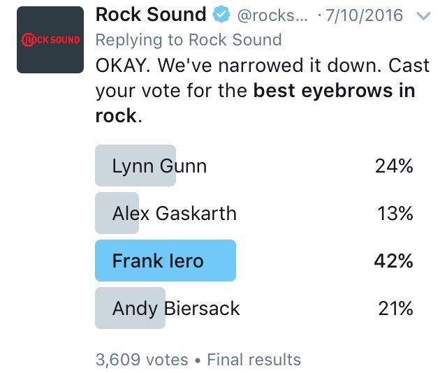 Frank Iero- best eyebrows in rock, 11-13-16