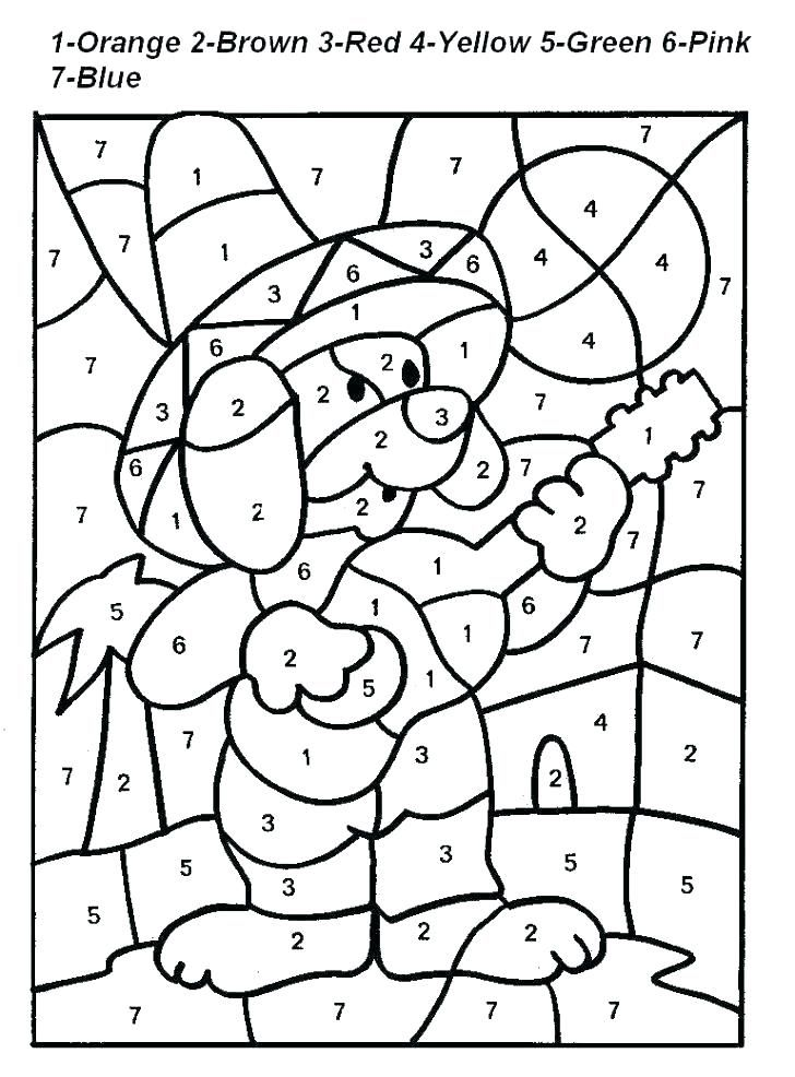 Easy Color By Number For Preschool And Kindergarten Coloring Worksheets For Kindergarten Addition Coloring Worksheet Color By Number Printable