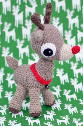 Rudolf med den røde tud. Gratis hækle opskrift.
