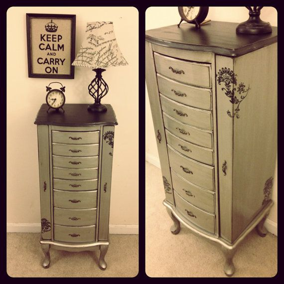 Metallic Silver And Black Jewelry Armoire By Furniture Alchemy  Modern  Masters Paint, Painted Furniture, Painted Dresser, Antique Silver Paint