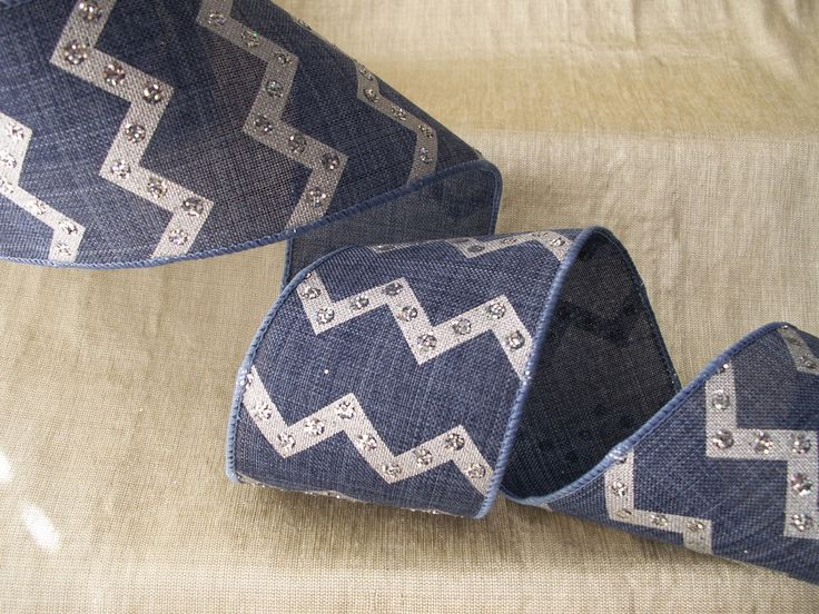 Denim and Silver Chevron Ribbon, 2 1/2 In Wide, 3 YARDS, Home Decor