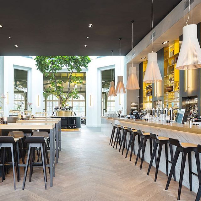 """Right in the center of Amsterdam is the """"De Plantage"""" district. Here is the oldest zoo in Europe. At the Flamingos you will find the Restaurant De Plantage. The decor reflects the elegance of the historic building. The seating is dark, the black-stained MORPH BAR by @zeitraumworld  stands at the gold-paneled bar and the high tables. Subtle table lights and @foscarinilamps  set accents in gold.  Photography: Luuk Kramer _ Find more on Archiproducts.com • _ Follow @archiproducts [+436k] • Use…"""