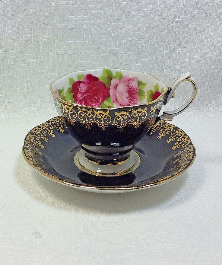 Royal Albert Old English Rose Black Cup Saucer RARE Fancy Gold Trim Edition | eBay