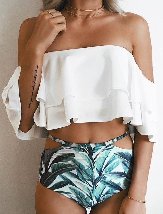 #summer ##flawless #Outfits |  White + Palm Print