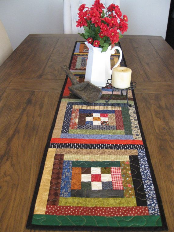 Extra Long Farmhouse Table Runner by Quiltedhearts5 on Etsy