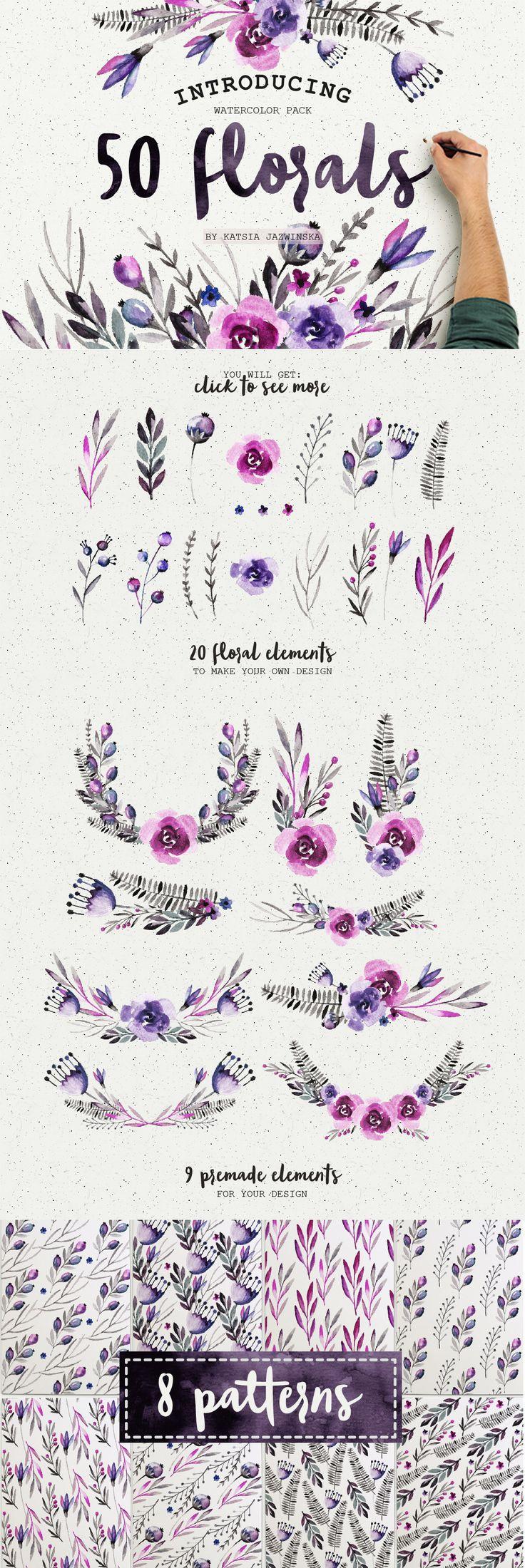 50 Watercolor Flowers Pack by Katsia Jazwinska on Creative Market