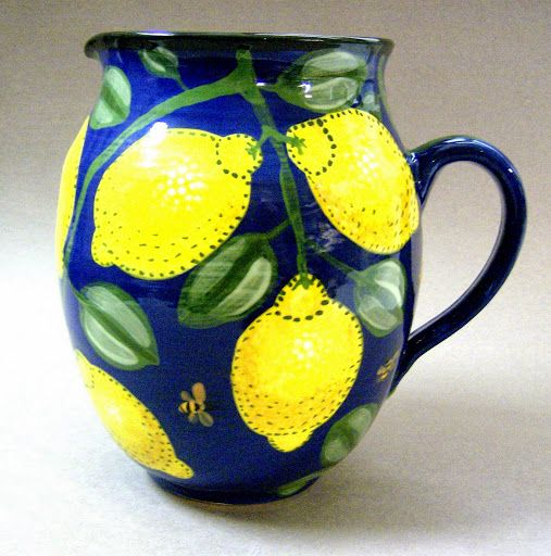 Lemon pitcher an old pattern painted by artist Geoff Graham of Cinnabar Ceramics in Vallejo, California.