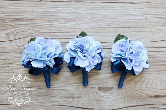 Hydrangea Boutonniere royal blue ribbon by MissHanaFloralDesign