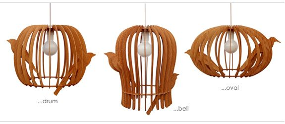 birdcage pendant  The dimensions of these beautiful Lampshades & Table Lamp are:  Drum shape – Oak: w 38 x h 30 cm  Oval shape – Oak: w 46 x h 30 cm  Bell shape – Oak: w 32 x h 38 cm  Table Lamp – available in Oak or Walnut ply: w 26 x h 32 cm    Note: the pieces come flat packed with instructions; they are easy to assemble. Sold without cable, fittings and light bulb.