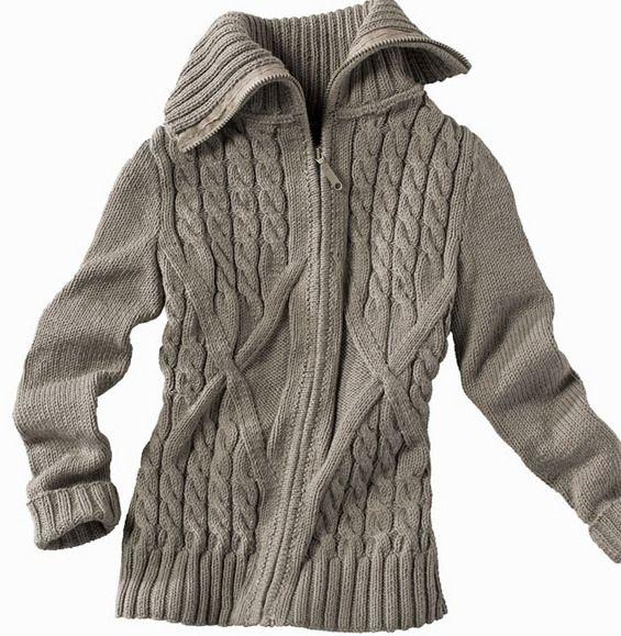 Modèle veste zippée à torsades - Modèles Gratuits Enfant - Phildar