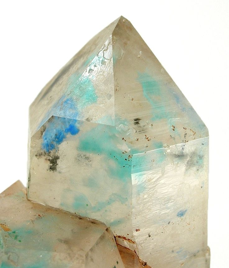 Papagoite and Ajoite included in Quartz Messina Mine, South Africa.