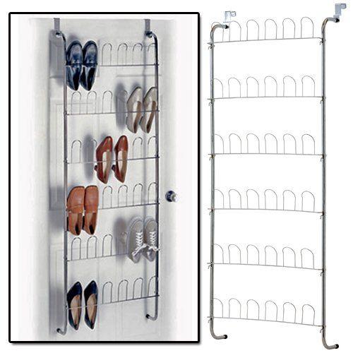 AMOS Chrome 18 Pair Over The Door Hanging Hook 6 Tier Shoe Rack Shelf  Organiser Holder