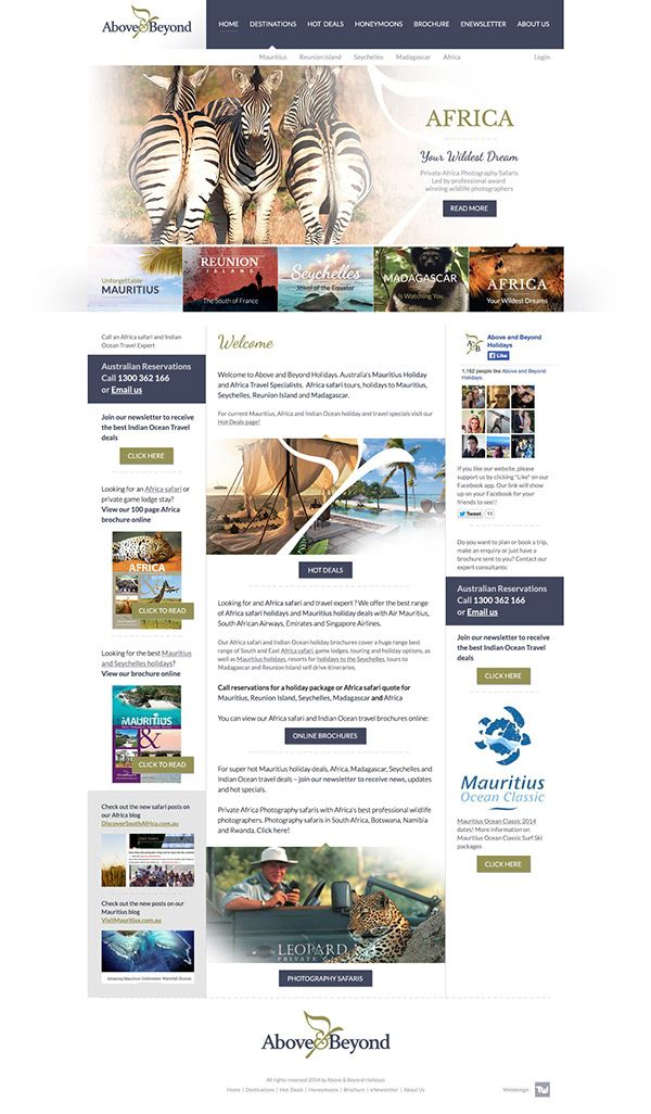 Above & Beyond Holidays Web Design by Tamas Walter, via Behance