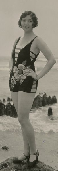 Mack Sennett Beauty, Thelma Parr, by George Cannons late 20s bathing suit floral one piece unique design style .....