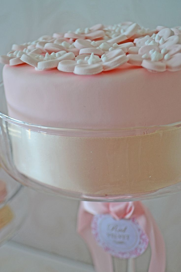 Pink cherry blossom mini cake in glass pedestal. Cake by Bake Sale Toronto.