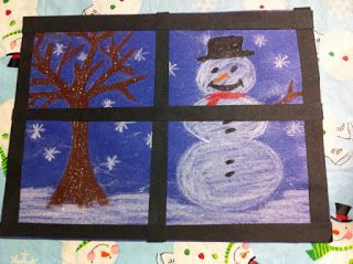 Kindergarten Epsom salt winter art: Draw a winter scene looking out your window. Brush with Epson salt mixture.
