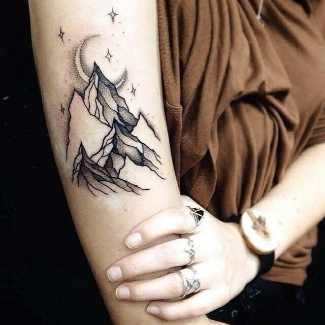 Mountains tattoo, arm tattoo, moon tattoo, traditional style tattoo