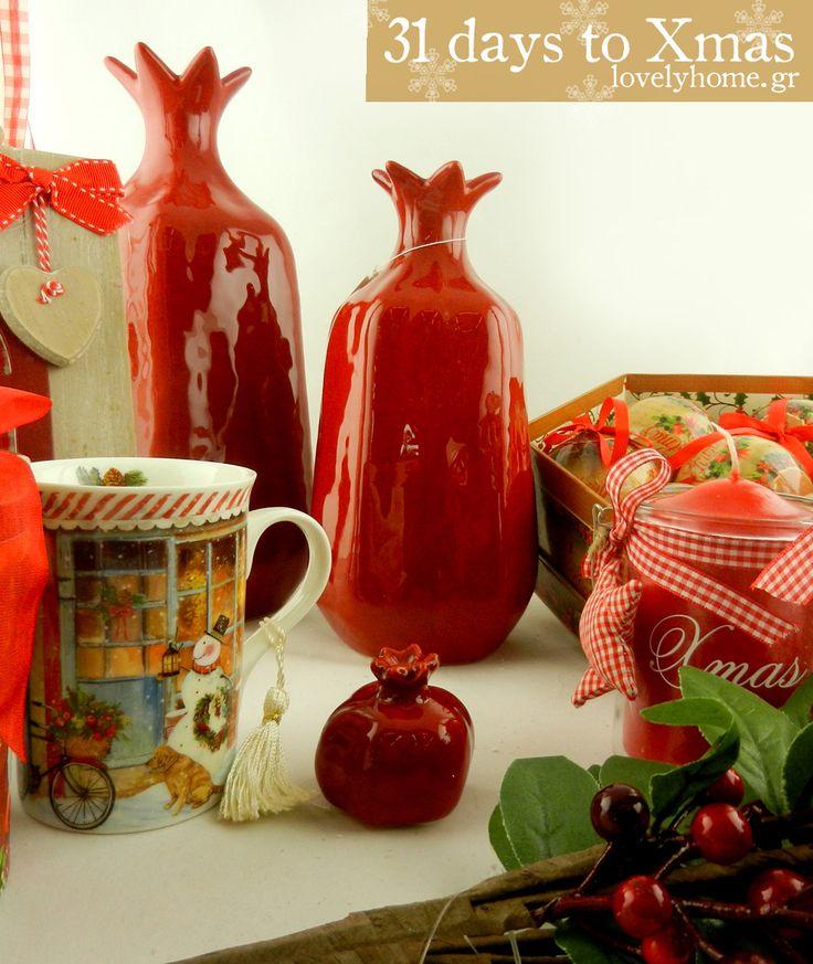 31 μέρες μέχρι τα Χριστούγεννα ! Κεραμικά διακοσμητικά βάζα - ρόδια σε όμορφα γιορτινά χρώματα, κούπες με χειμωνιάτικες και χριστουγεννιάτικες παραστάσεις, κορνίζες και κηροπήγια.... κι ένα σωρό άλλες προτάσεις σε τιμές που θα κάνουν κι εσένα να γιορτάζεις όσο θα διαλέγεις δώρα για τους αγαπημένους σου!