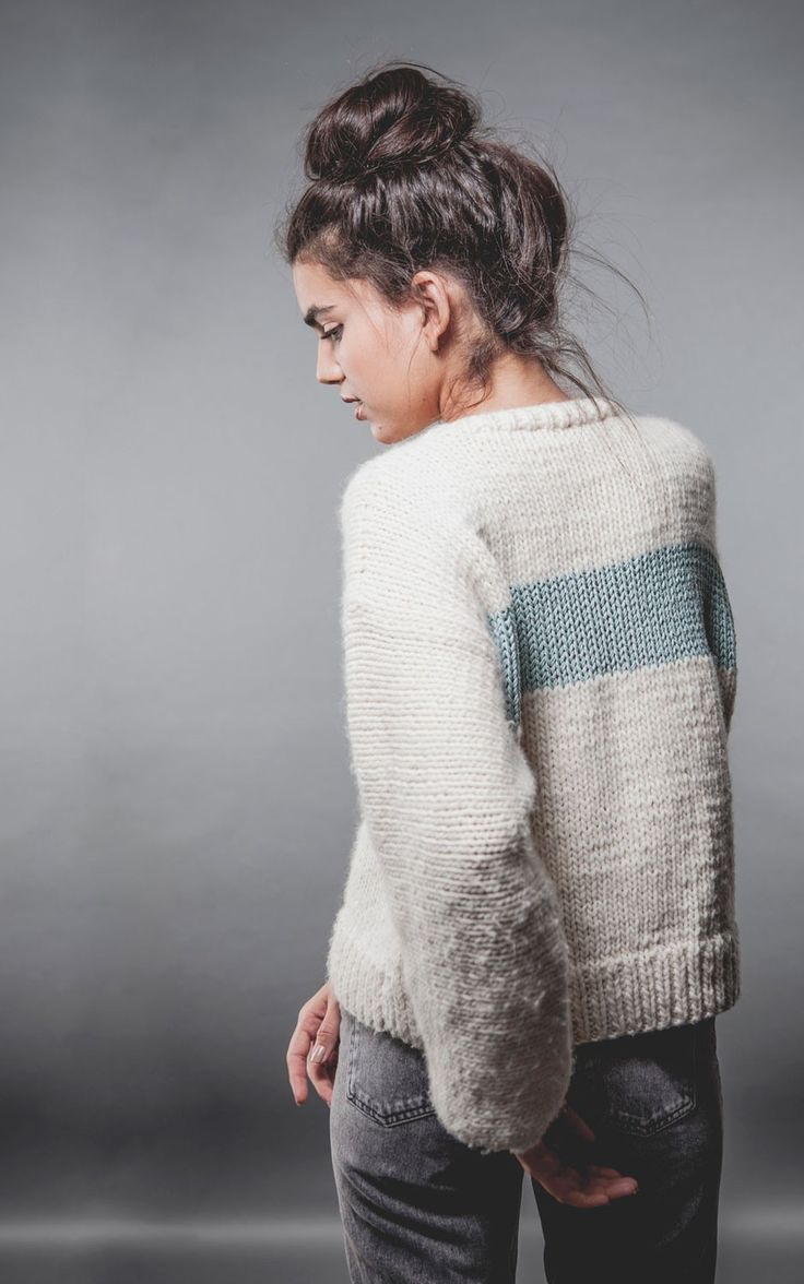 Unicorn Sweater in Natural and Aquamarine Petite Wool | We Are Knitters