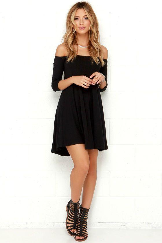Rock the Bateau Black Off-the-Shoulder Dress at Lulus.com!