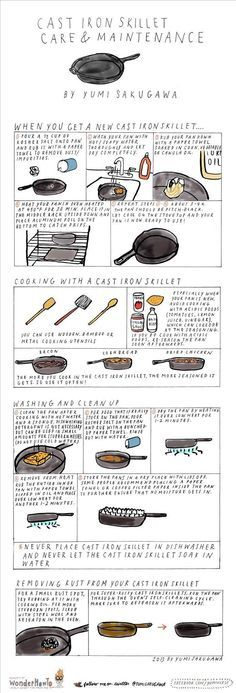 Cast Iron Skillet Care & Maintenance (infographic) (Camping Hacks Food)