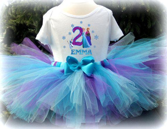 Frozen Tutu Outfit Set - Frozen Birthday Tutu Purple Teal and Aqua | £24.83