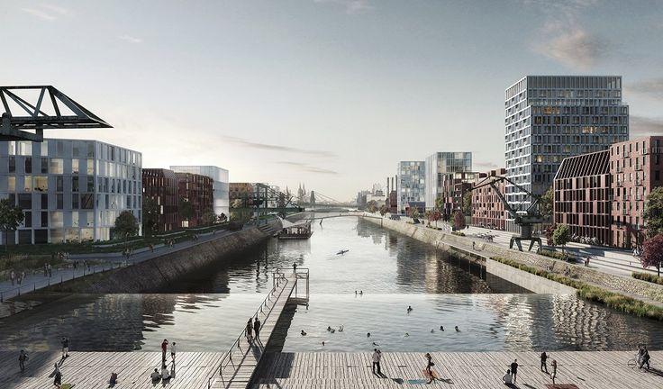 Kanaal met zwembad en waterval voor Keulen - architectenweb.nl