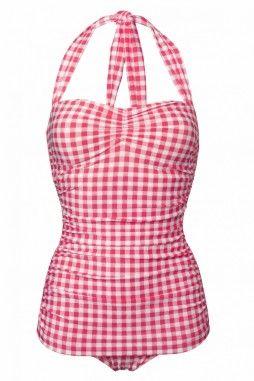 classic fifties badpak BB ruitjes frambozen roze wit
