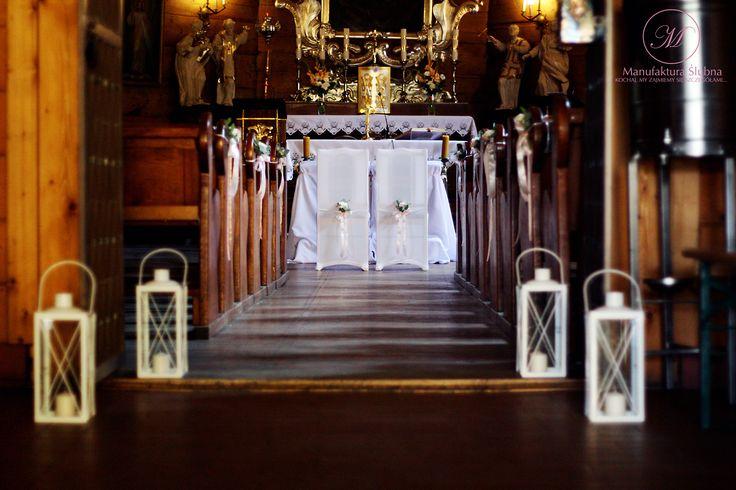#wedding #church #decorations #lanterns #flowers #romantic #style #ślubne #dekoracje #kościół #latarnie #kwiaty