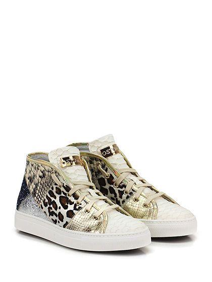 STOKTON - Sneakers - Donna - Sneaker in pelle laminata, pelle effetto pitone e cavallino con zip su lato esterno e suola in gomma. Tacco 35. - PANNA\MULTICOLOR - € 189.00