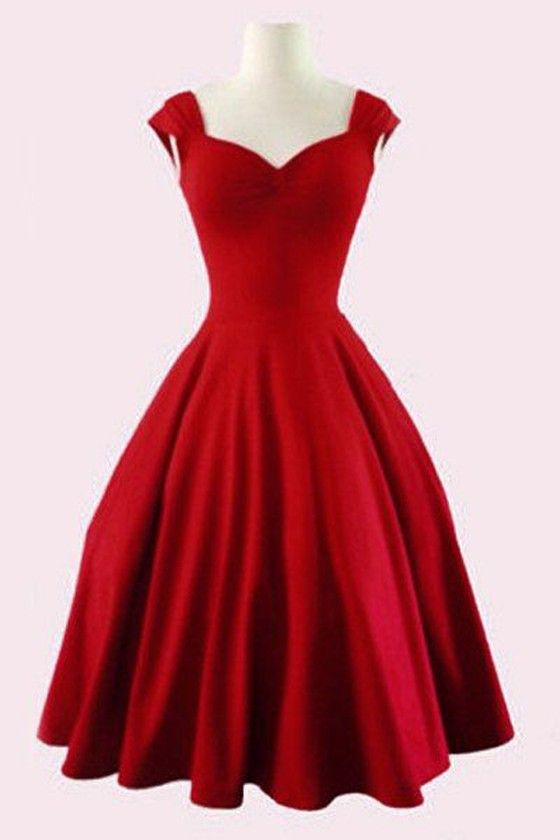Red Plain Pleated V-neck Fashion Mini Dress