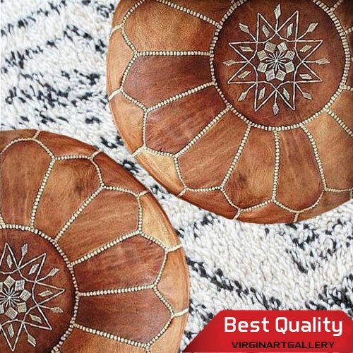 SALE Genuine Tan Leather Moroccan Ottoman Pouf by virginartgallery