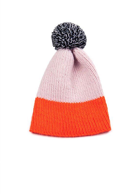 Color Block Rib Beanie Pale Pink & Neon by WhiteLodgeKnitwear