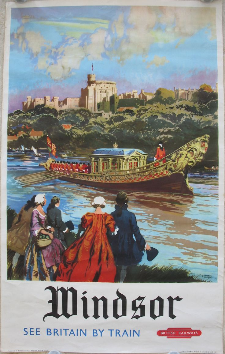 Windsor - See Britain by Train, by Gordon Nicoll. Windsor Castle is here visible above an event taking place on the River Thames at some point in it's long history. This was not what the 1960s visitor would see, but what they were encouraged to imagine! Original Vintage Railway Poster available on originalrailwayposters.co.uk