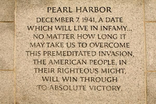 """(NATIONAL) PEARL HARBOR REMEMBRANCE DAY / PEARL HARBOR DAY (Dec 7) --- """"Pearl Harbor: December 7, 1941: A date which will live in infamy… No matter how long it may take us to overcome this premeditated invasion, the American People, in their righteous might, will win through to absolute Victory."""" _____________________________ Reposted by Dr. Veronica Lee, DNP (Depew/Buffalo, NY, US)"""