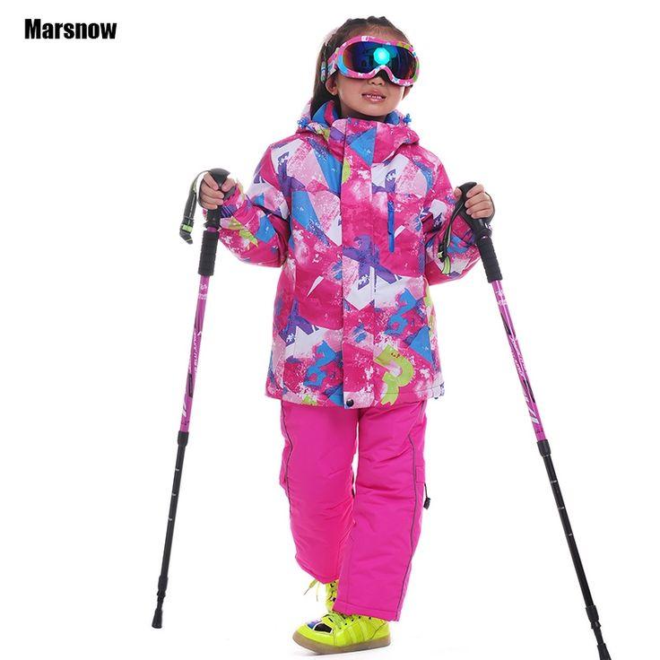 74.30$  Watch now - Ski Suit winter Jacket + Pants 110-160 New waterproof keep warm Outdoor Thicken Children kids winter snow set for girls  #buyininternet