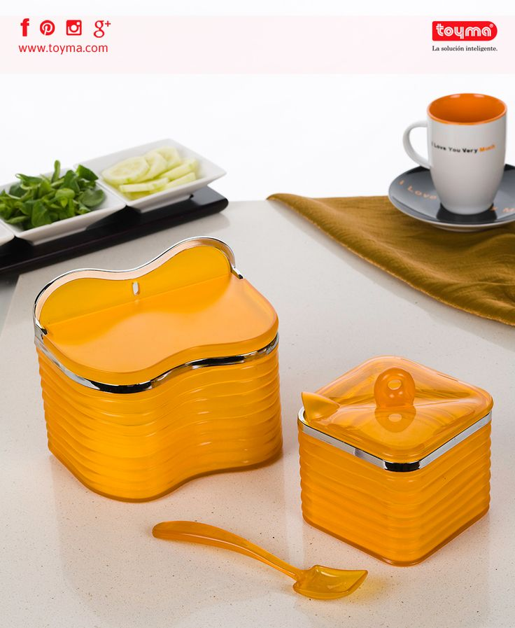 Colores atractivos para tu mesa 👉 Azucarero y Salero 🔴El azucarero incluye cuchara de diseño exclusivo. 🔴El salero puede colgarse de la pared.  Más colores y utensilios >> http://toyma.com/catalogo/cocina/para-mesa-id1025  #Toyma #cocina #hogar #ParalaMesa #azucarero #azucar #salero #sal #diseño #colores