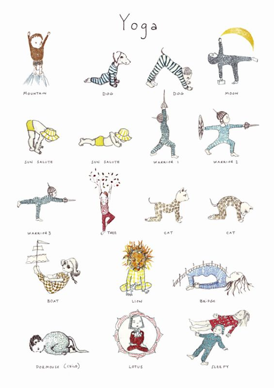 Yoga Poster - Fun poses for kids Signed A3 prints