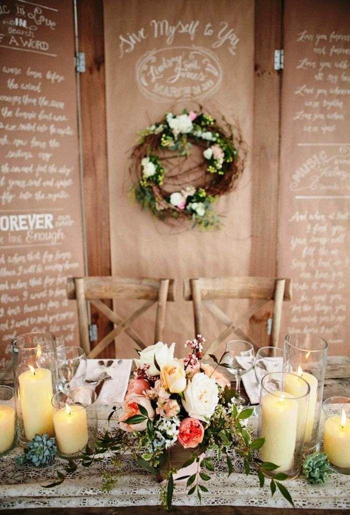 Brautpaar Design - Romantische und rustikale Tischdeko