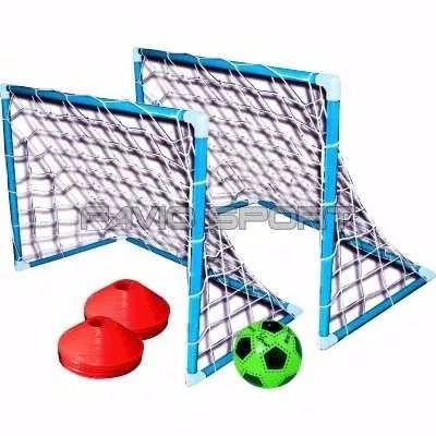 set fútbol infantil - arcos pvc + conos + pelota + bolso