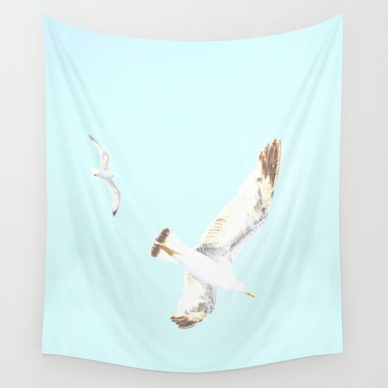 15% OFF + FREE WORLDWIDE SHIPPING ALL WALL TAPESTRIES!  Seagulls Flying Wall Tapestry by ARTbyJWP from Society6 #walltapestry #tapestries #walldeco #seagulls #aquablue --- Available in three distinct sizes, our Wall Tapestries are made of 100% lightweight polyester with hand-sewn finished edges. Featuring vivid colors and crisp lines, these highly unique and versatile tapestries are durable enough for both indoor and outdoor use. Machine washable for outdoor enthusiasts, with cold water on…