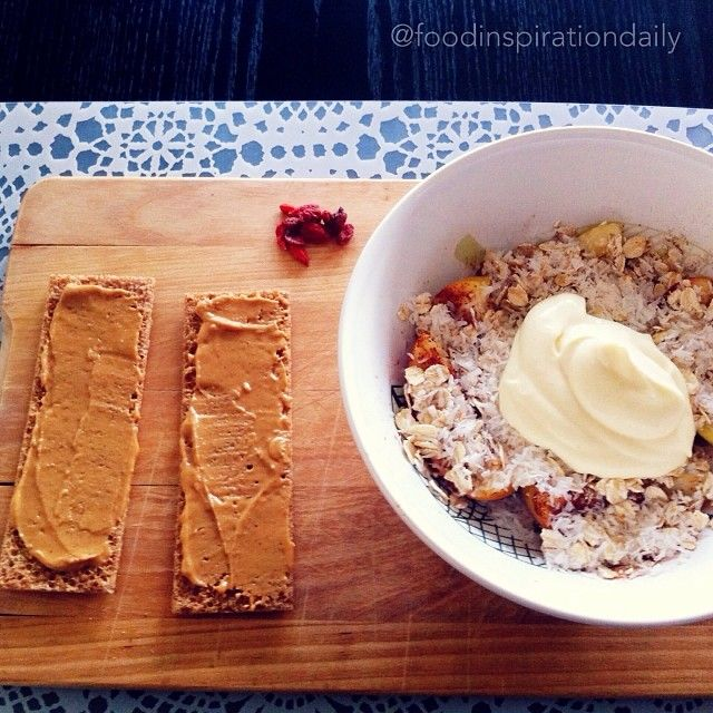 Breakfast  two pb crisp bread, gojiberries and microwaved apple slices with cinnamon, rolled oats and coconut butter, topped with vanilla quark. Very yum and nutritious breakie.  #Padgram