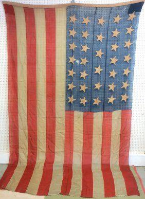 Large American all hand sewn 34 star Civil War era