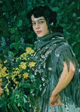 Aleksandr Golovin (Russian, 1863-1930) - A Spanish Woman with a Bunch of Yellow Flowers, 1906-1907, Tempera, gouache, pastel on paper, 89×62 cm, Russian Museum, St. Petersburg