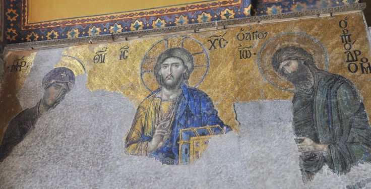 Hagia Sophia Deesis Mosaic mystery uncovered. Jesus Christ, Virgin Mary and John the Baptist depicted by Byzantine artists.