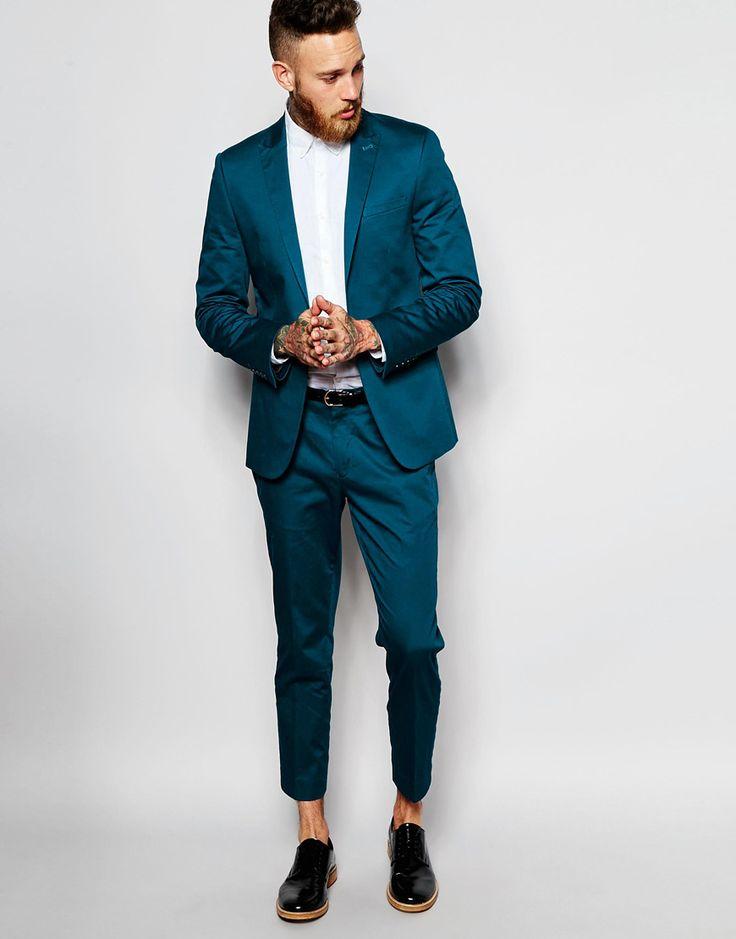 ASOS Skinny Suit In Teal Cotton Sateen