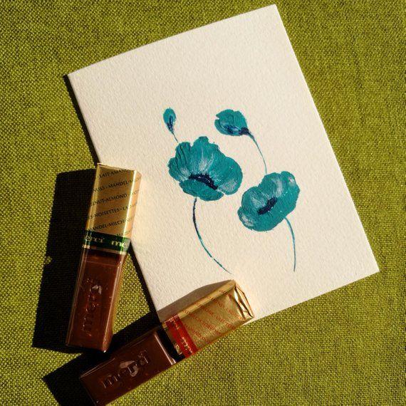 Turquoise Flowers Acrylic Greeting Card Original Painting