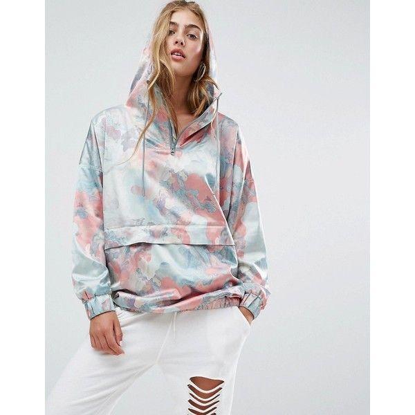 adidas Originals Pastel Camo Satin Hoodie ($78) ❤ liked on Polyvore featuring tops, hoodies, multi, camouflage hoodies, adidas hoodie, hooded sweatshirt, oversized hoodies and camo hoodie