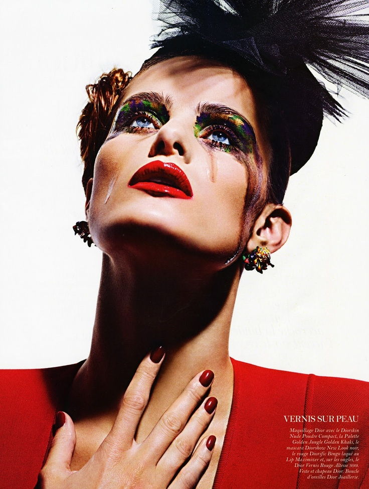 Rainbow eyes and red lips | Isabeli Fontana by Mario Sorrenti for Vogue Paris | August 2012